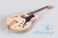 DIY Semi Hollow Set In Electric Guitar Kit Flamed Maple Veneer Albatross G062