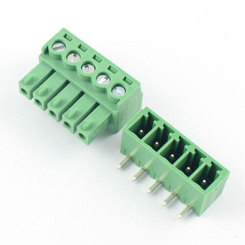 50Pcs 3.81mm Pitch 5 Pin Ángulo Conector De Bloque Terminal De Tornillo conectable