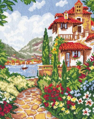 """/""""Villa by the sea/"""" 48-01 Cross Stitch Kit WONDERFUL NEEDLE MAGIC NEEDLE"""