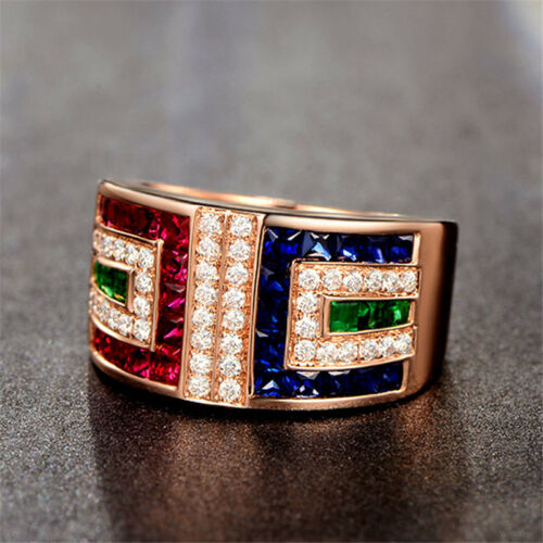 Rose Gold Plated Princess Cut Multi-color Sapphire Wedding Ring Size 6-10