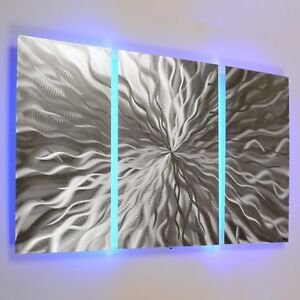 Image Is Loading Modern Abstract Metal Wall Art Color Changing LED