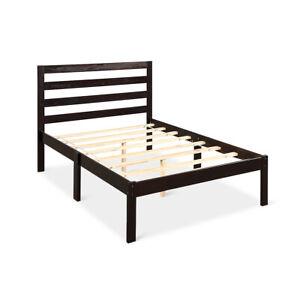 Costway Twin Size Bed Frame Solid Wood Bed Platform W//Headboard Wood Slat