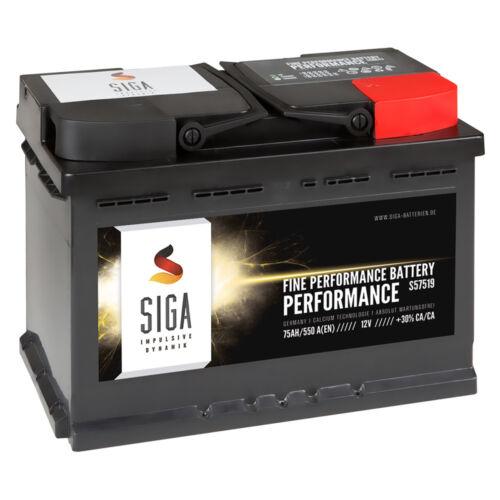 SIGA Autobatterie Starterbatterie 12V 75Ah ersetzt 71AH 72AH 74AH 77AH 80Ah