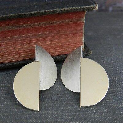 Modernist Betty Cooke Sterling Silver & 14K Yellow Gold Earrings