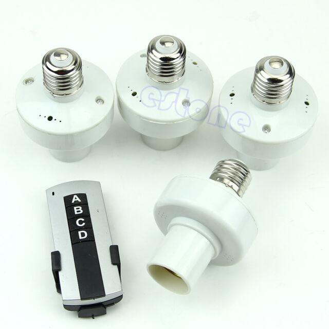 4Pcs Hi-Q E27 Wireless Remote Control Light Lamp Bulb Holder Cap Socket Switch