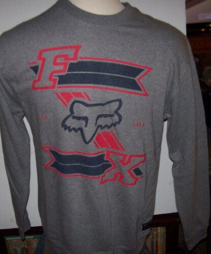 NEW FOX RACING Pull Over gray red crew neck fleece sweatshirt sz small or large