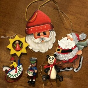 Lot-of-6-Vintage-Wooden-Christmas-Ornaments-Hand-Painted-some-Germany-3D-EUC