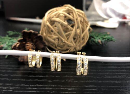 10K Solid Yellow Gold Cubic Zirconia Huggie Hoop Earrings.Argollas de Oro Solido