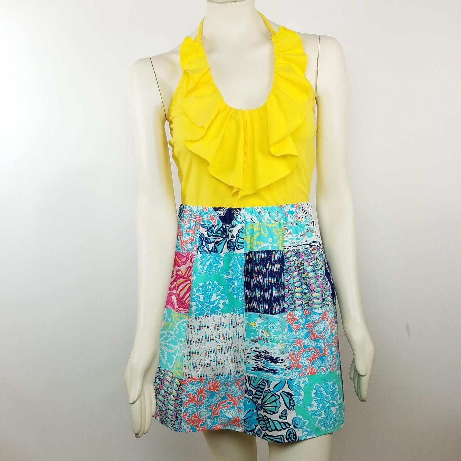 Lilly Pulitzer Womens SZ Medium Quinn Dress Yellow Sleeveless Halter Nautical