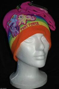 e787834cedd NEW! My Little Pony Power Pink Rainbow Dash  Winter Hat   Gloves ...