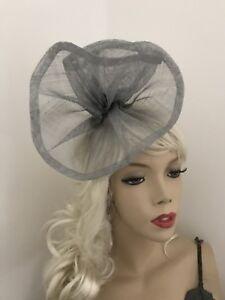 Image is loading Fascinator-Silver-Grey-Gray-Sinamay-Wedding-Hat-Formal- 6b90bbd1c66