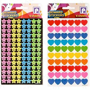 ASSORTED HEART &amp; STAR DECORATIVE STICKERS Scrapbooking/A<wbr/>rts/Crafts Accessories