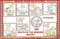Mexican Fiesta Motifs 8 Iron-on Embroidery Transfer Pattern W/ Potholder 520