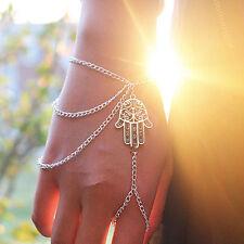 Hamsa Fatima Bracelet Finger Ring Slave Chain Hand Harness Bangle Gift Xmas UK