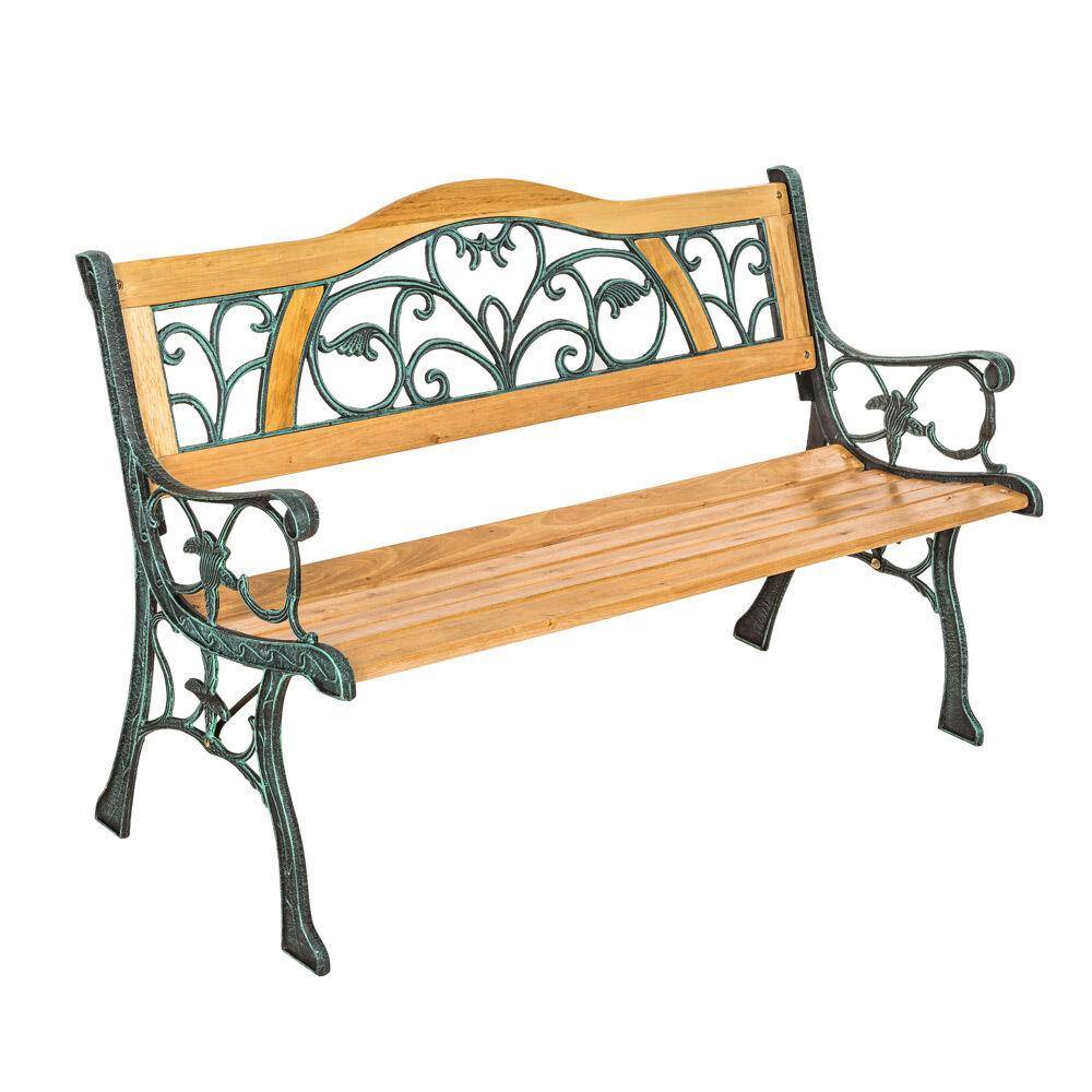 Banc mobilier mobilier mobilier meuble de jardin parc terrasse en bois et fonte 124cm neuf 36f95e
