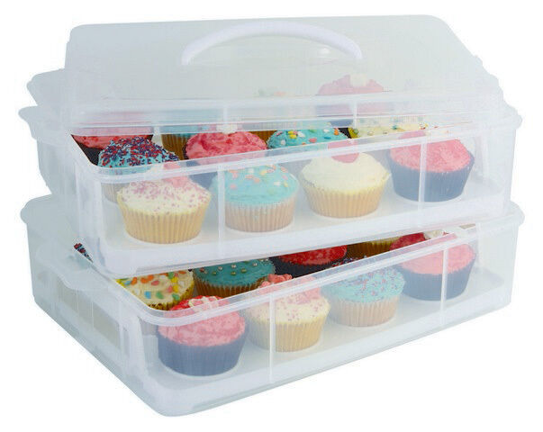 D.LINE 24 CUP STACKABLE CUPCAKE CARRIER,WITH CLIPLOCKS & REMOVABLER TRAYS