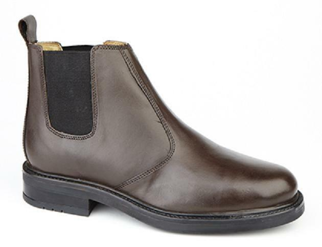 Para Hombre Caballeros Negro De Cuero Marrón Slip On Distribuidor Pull Chelsea Distribuidor On Arranque confort Wear 34e7a7