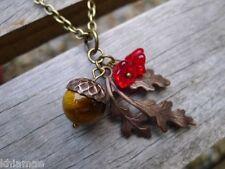 "Antique Bronze Acorn & Oak Leaf Pendant necklace 20"" wicca pagan tigers eye"