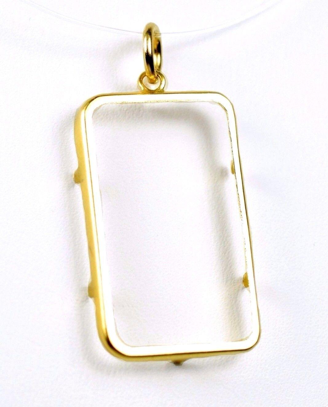 5 Gram 14k Yellow gold Pamp Suisse Bullion Bar Pendant Bezel Frame 24x14.5mm