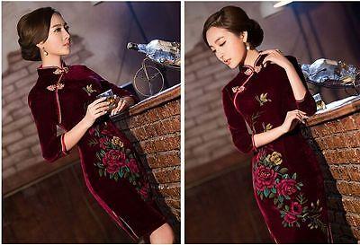burgundy black Chinese women's velvet  evening dress Cheongsam SZ:S-xXL