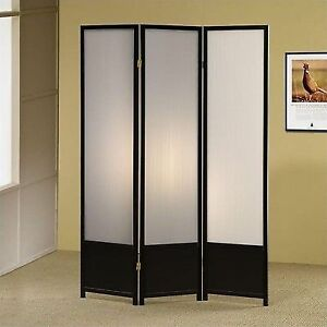 Black Finish Room Divider Screen With Three Translucent Frosted Panels