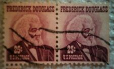 1967 Scott 1290 U. S. Frederick Douglass two used 25 cent stamps off paper