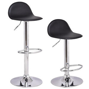 Set-of-2-Swivel-Bar-Stools-Modern-Adjustable-Height-Diner-Seat-Chairs-Black