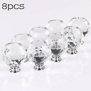 Diamond Crystal Door Knobs Diamond Glass Clear Cabinet Drawer Wardrobe Handle