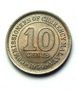 1950-MALAYA-British-King-George-VI-Coin-10-Cents-AU-toned-lustre