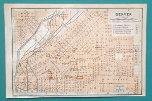 DENVER-City-Plan-Colorado-1909-MAP-Baedeker-4-x-6-034-10-x-15-5-cm