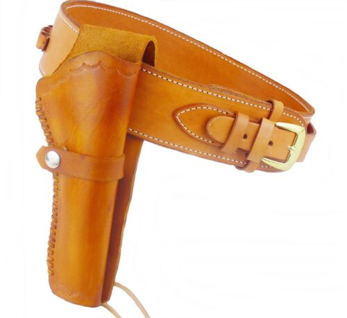 Belt + Holster Western Holster with Cartridge Loops Cowhide Light Brown