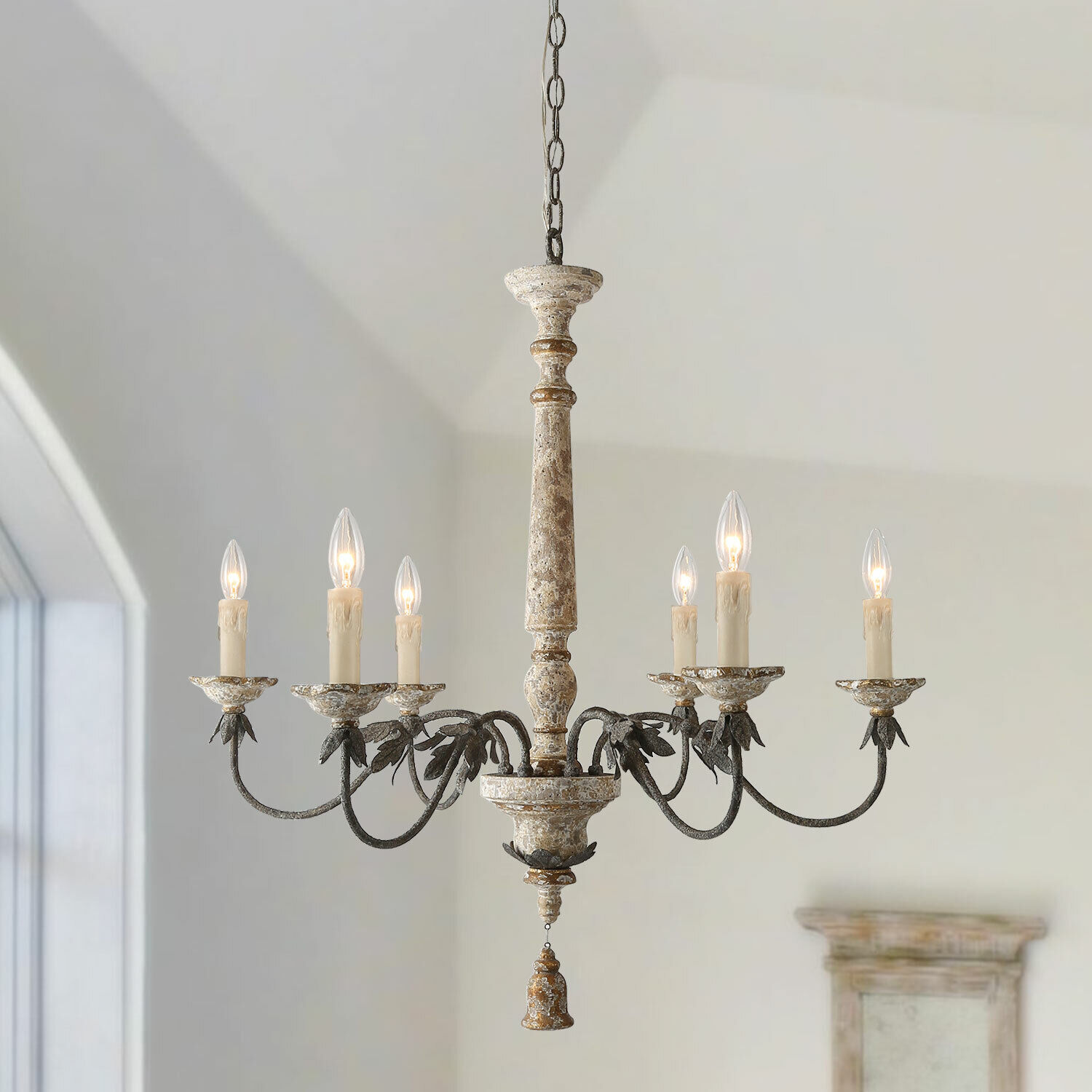 Farmhouse Distressed Antique White 5 Light Wood Chandeliers For Sale Online Ebay