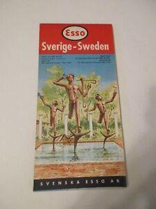 Vintage-1959-Esso-Sverige-Sweden-Oil-Gas-Service-Station-Travel-Road-Map