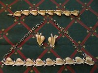 VINTAGE 3 PC METAL JEWELRY SET - CHOKER NECKLACE, BRACELET & CLIP-ON EARRINGS