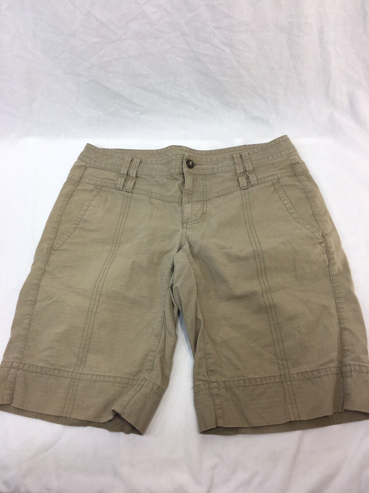THE NORTH FACE Womens 10 HIKING GUIDE COTTON SHORTS KHAKI EUC