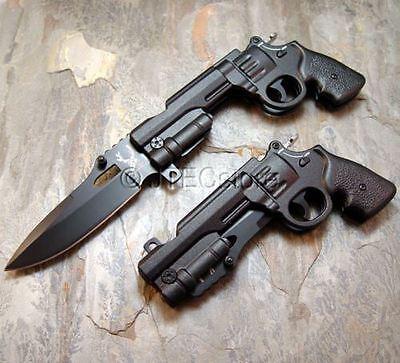JTEC Spring Assisted REVOLVER PISTOL Gun BLACK Folding Pocket Knife JT158
