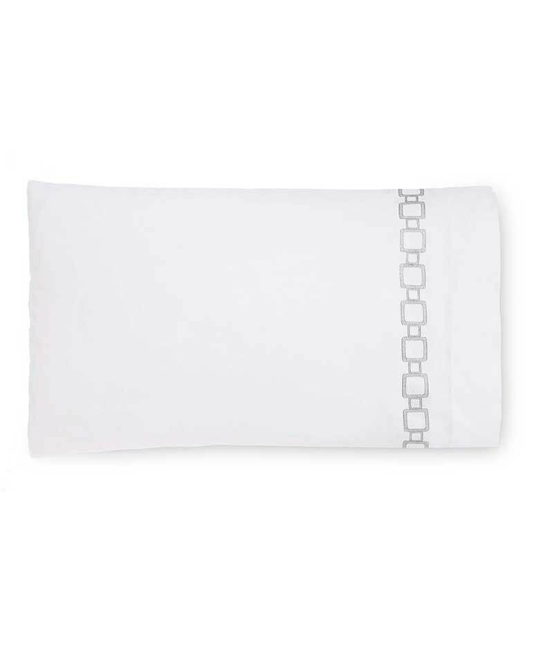 ITALY SFERRA VESSA EMBROIDErot PERCALE PILLOWCASES   PAIR WITH GEOMETRIC LINKS