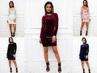 Glamzam New Womens Ladies Long Sleeve Velvet Velour Bodycon Stretch Mini Dress