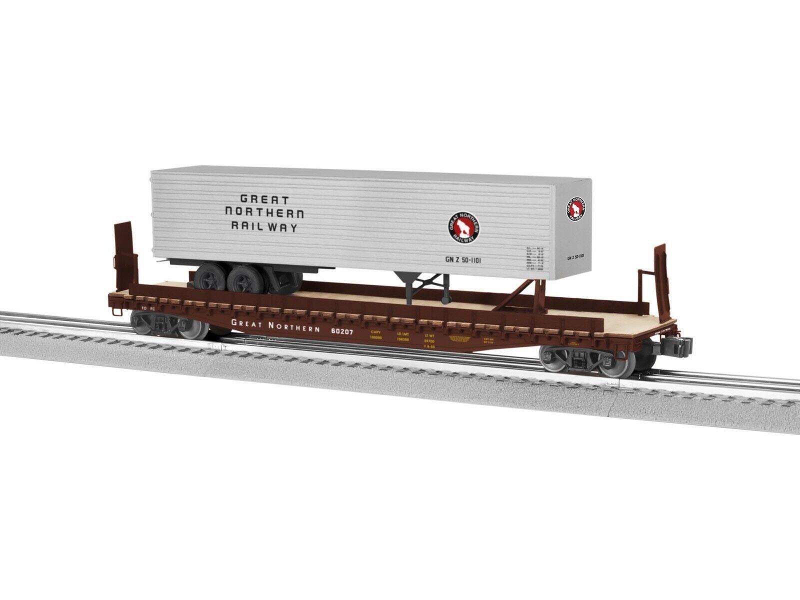 NIB O Lionel 6-82842 PS4 Flatcar w 40'Trailer Great Northern  60207