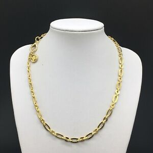 Vintage-Designer-Givenchy-Gold-Tone-Chain-Link-Necklace-18-Long