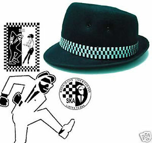 Rude-Boy-Ska-media-copa-negro-2-COLORES-Pork-Pie-Sombrero-Fedora-3-Tamanos