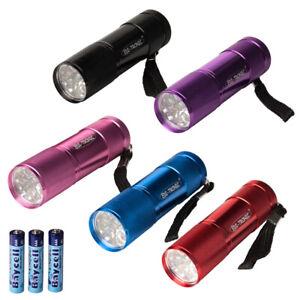LED Taschenlampe 9 LEDs inkl Batterien div Farben Alu Mini Lampe Mitgebsel Party