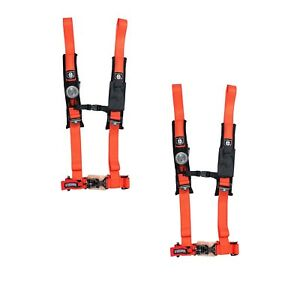 "ASSAULT INDUSTRIES SEAT BELT HARNESS H STYLE 5 POINT 3/"" PAIR ORANGE YXZ 1000R"