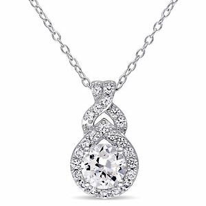 "Amour Sterling Silver Created White Sapphire Drop Necklace Pendant 18"" 925"
