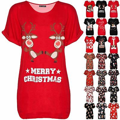 Womens Ladies Oversized Christmas Pug Turn Up Sleeve Baggy Batwing T Shirt Top
