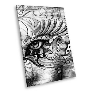 Details About E194 Black White Portrait Canvas Picture Print Wall Art Abstract Sketch Eye