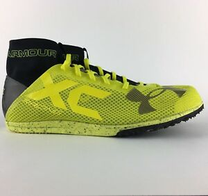 42018015e3 Details about Under Armour UA Charged Bandit XC Spike Running Shoes Black /  Yellow - Size 12