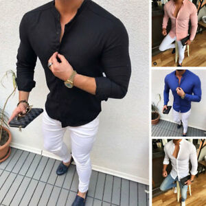 Men-039-s-Slim-Fit-V-Neck-Long-Sleeve-Muscle-Tees-T-shirt-Casual-Shirts-Tops-Blouse