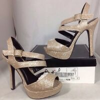 Qupid High Heels Women's Shoes Size 7 Gold Shimmer Pumps Ankle Zip Bootie