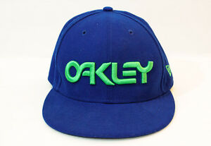 Oakley New Era 59Fifty True Fitted 7-1 4 Hat Cap Blue w Green ... 1c11bc44339